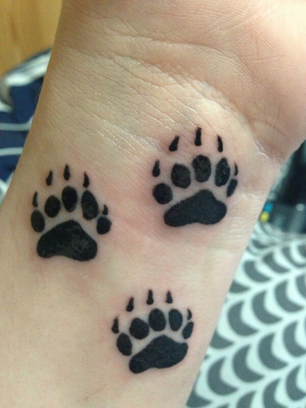 Cute Bear Paw Tattoo Designs & Ideas
