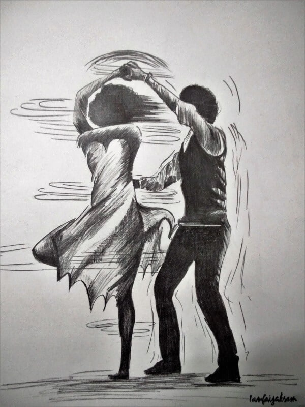 Simple Pencil Sketches Of Couples In Love