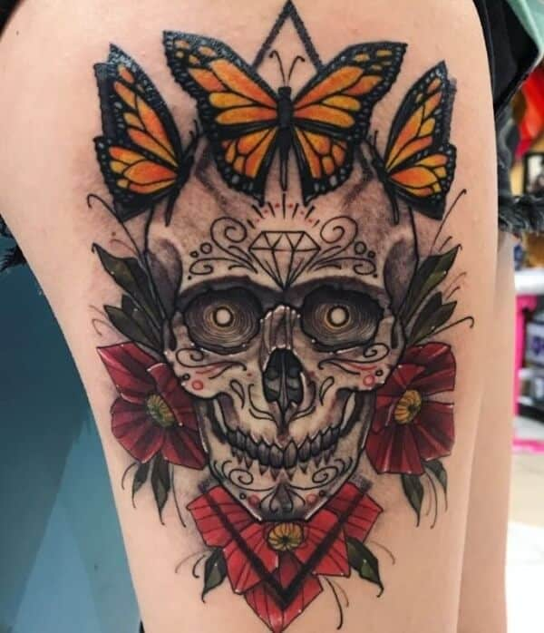 Stylish Sugar Skull Tattoo Designs With Meaning